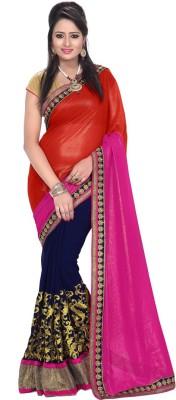 AmarTrends Plain Fashion Handloom Georgette Sari