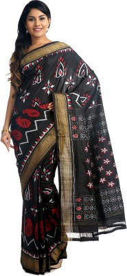BlackBeauty Woven Pochampally Handloom Pure Silk Sari(Black) at flipkart