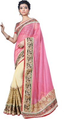 Chirag Sarees Embroidered Bollywood Georgette Sari(Pink)