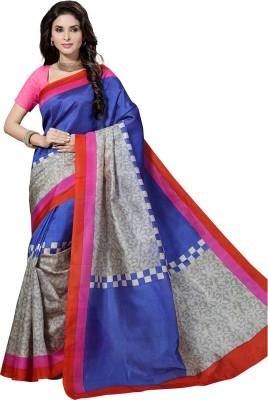 Rani Saahiba Printed Bhagalpuri Handloom Pure Silk, Dupion Silk Sari(Multicolor)