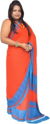 Gulmohaar Printed, Geometric Print Bollywood Synthetic Georgette Sari