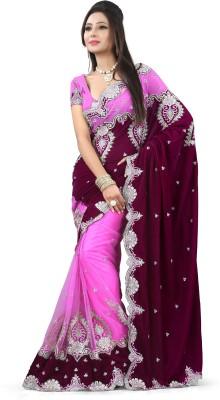 Snreks Collection Embriodered Fashion Net, Velvet Sari