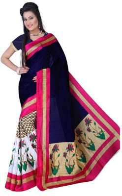 Glamoroussurat Fashion Printed Daily Wear Silk Cotton Blend Sari
