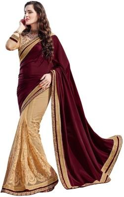 DesiButik Embriodered Fashion Satin, Net Sari