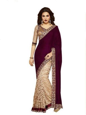Lovit Self Design Bollywood Velvet, Brasso Sari