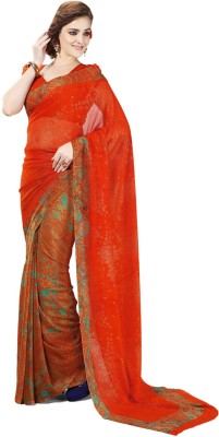 Zemi Floral Print Fashion Chiffon Sari