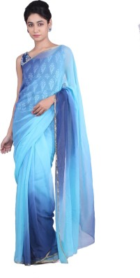 Geroo Self Design Fashion Chiffon Sari