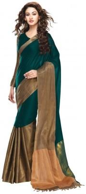 Mukesh Embellished Fashion Handloom Cotton, Silk Cotton Blend Sari