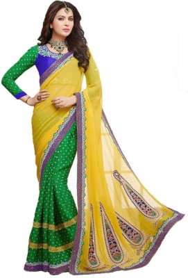 Imago Embriodered Fashion Georgette, Jacquard Sari