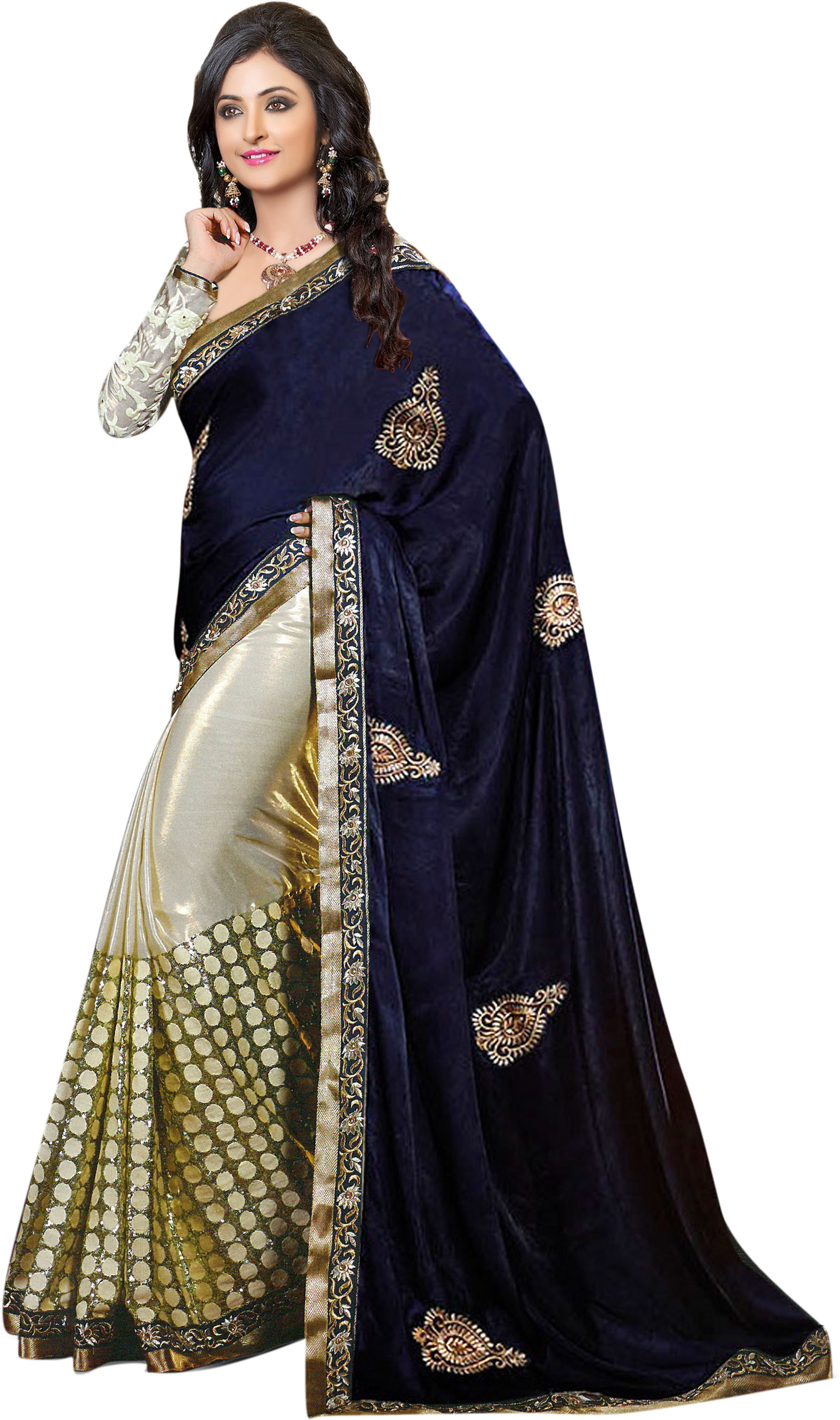 Rudraksh Fashion Embriodered Bollywood Velvet Sari