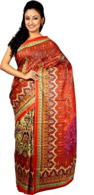 Womilo Floral Print Madhubani Silk Sari