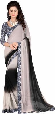 AIRSON FAB Plain Fashion Georgette Saree(Grey) at flipkart
