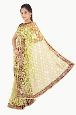 Vasundhara Lifestyle Embriodered Fashion Net, Brasso Fabric Sari