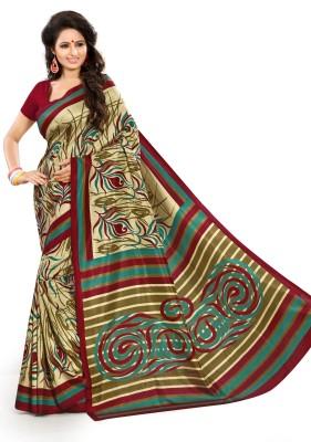 AJS Geometric Print, Printed Fashion Art Silk Sari