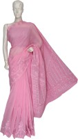Ada Embroidered Lucknow Chikankari Handloom Cotton Sari(Pink)