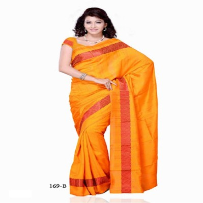 Swikriti Creations Plain Bhagalpuri Cotton Sari