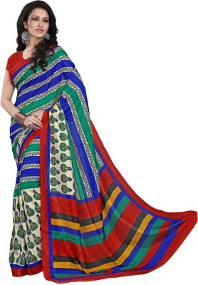 Right Shape Floral Print Bollywood Art Silk Sari