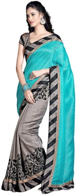 Queenbee Printed, Self Design Fashion Art Silk Sari