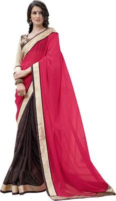 Blissta Self Design Fashion Georgette, Brasso Sari