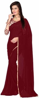 Kuvarba Fashion Plain Fashion Chiffon Sari