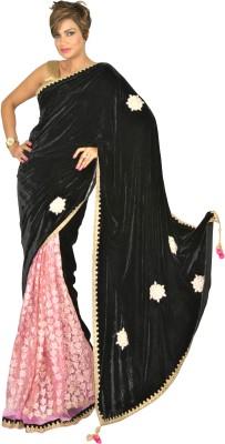 Geisha Self Design Bollywood Velvet, Brasso Fabric Sari