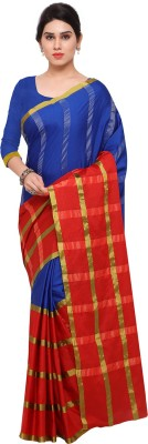 Ratnavati Striped Kanjivaram Art Silk Saree(Blue, Red, Gold) at flipkart