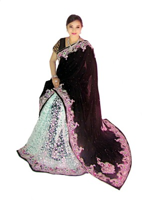 Home Design Self Design, Embellished, Self Design Fashion Handloom Brasso, Velvet Sari