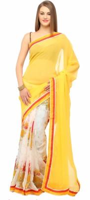 Lime Fashion Floral Print Fashion Chiffon Sari
