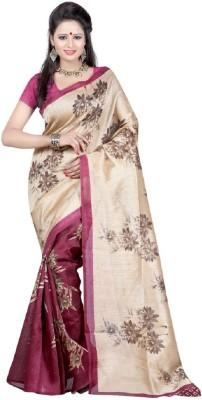 Hanscreation Floral Print Bhagalpuri Handloom Art Silk Sari