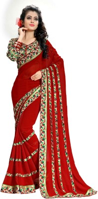 Oomph! Floral Print Fashion Georgette Saree(Red) at flipkart