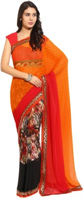 Yehii Animal Print Fashion Georgette Sari