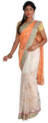 Nav Durga Solid, Embriodered, Woven Bollywood Art Silk Sari