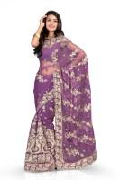 Chirag Sarees Self Design Fashion Net Saree(Purple)