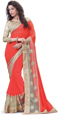 Laajjo Embriodered Fashion Net, Georgette Sari