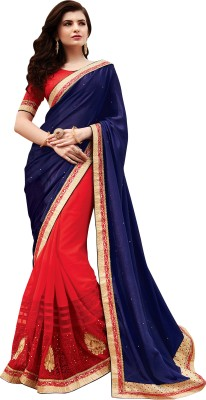 Hitansh Fashion Self Design, Embriodered Fashion Georgette, Net, Satin Sari