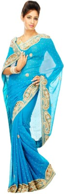 Bay & Blue Embriodered Bollywood Handloom Chiffon Sari