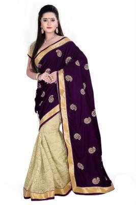 Fabliva Embriodered Bollywood Velvet Sari