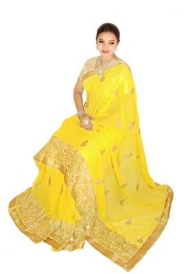 Home Design Embriodered, Embellished Fashion Handloom Chiffon Sari