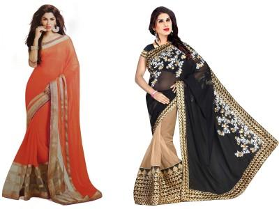 Krishna Creation Plain Bollywood Handloom Chiffon Sari