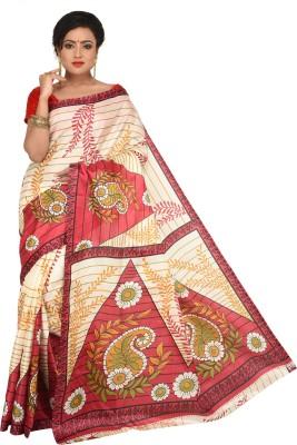 Keya Sarees Paisley, Printed Ikkat Art Silk Sari