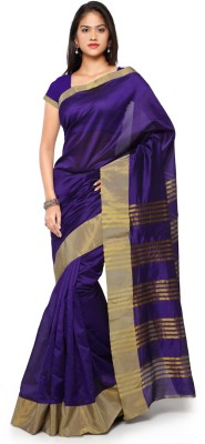 Saara Striped Fashion Cotton, Linen Saree(Gold, Purple) at flipkart