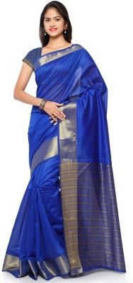 Saara Striped Fashion Cotton, Linen Saree(Gold, Blue) at flipkart