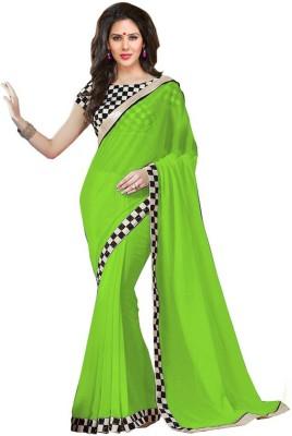 AahnaFashion Plain Bollywood Chiffon Sari