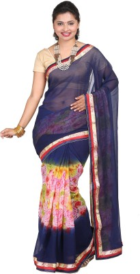 vinaa sarees Printed Fashion Synthetic Georgette Sari