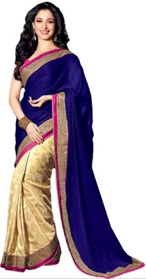 PerfectBlue Self Design Chanderi Chiffon Sari