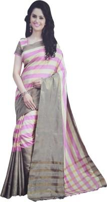 Neshkaar Striped, Checkered, Solid, Self Design, Plain Bollywood Cotton Sari