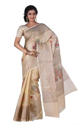 Creation Floral Print Kantha Art Silk Sari