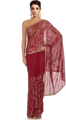 Chhabra 555 Embriodered Fashion Georgette Sari