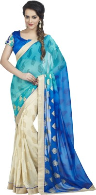 Palav Fabrics Embriodered, Plain, Embellished, Self Design Bollywood Georgette Sari