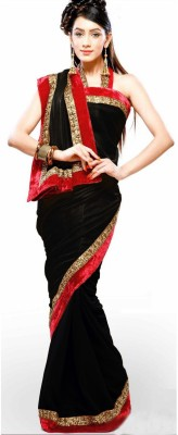 Bhuwal Fashion Self Design Fashion Chiffon Saree(Black)